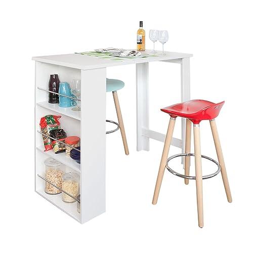 SoBuy® FWT17-W Table Haute de Bar Mange-debout Cuisine avec rangements– Blanc