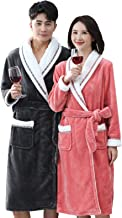 Autumn/Winter Couples Solid Color Flannel Bathrobes, Soft and Warm Casual Homewear for Men and Women with Belt(Size:Women-...