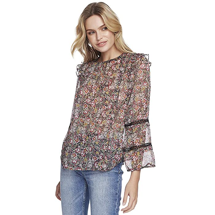 1.STATE  Long Sleeve Forest Gardens Lace Inset Blouse (Rich Black Multi) Womens Clothing