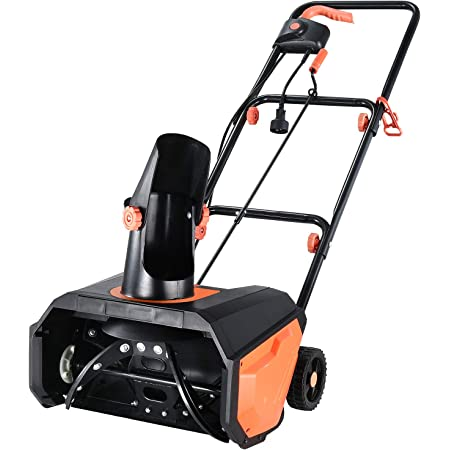 Hattomen Snow Thrower, 18 Inch Electric Snow Blower, 13 Amp, Steel Auger, 180° Rotatable Chute, Overload Protection