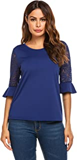 3/4 Sleeve Shirts for Women Womens Lace Tops Round Neck Solid Summer Blouse, S-XXL