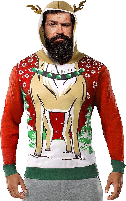 Huangse Mens 3D Print Christmas Reindeer Cosplay Pullover Hoodie Cute Xmas Fleece Lined Sweatshirt Winter Warm Coat