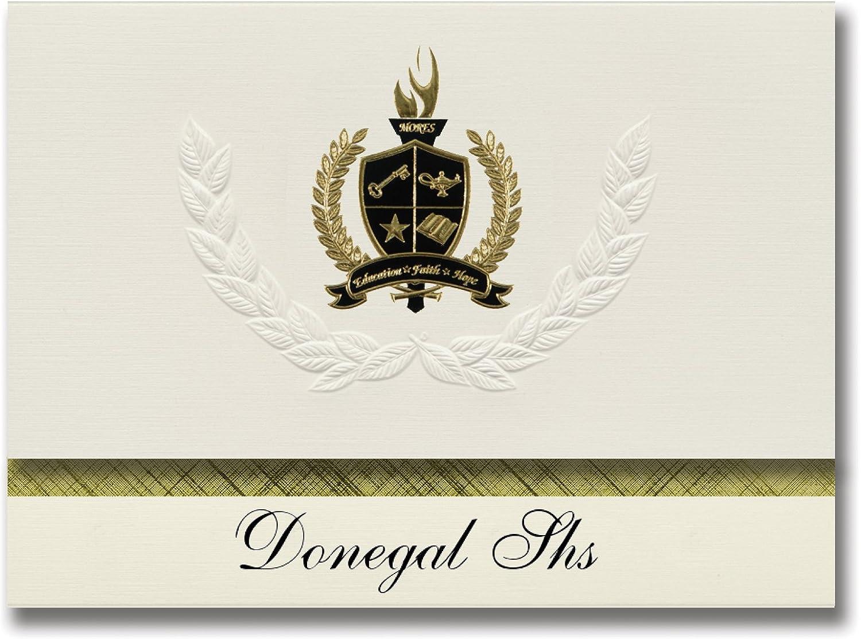 Signature Ankündigungen Donegal SHS (Mount Joy, PA) Graduation Ankündigungen, Presidential Stil, Basic Paket 25 Stück mit Gold & Schwarz Metallic Folie Dichtung B0795V661V | New Listing
