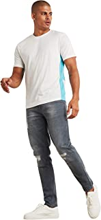 Striped Panel Round Neck T-shirt with Short Sleeves 50284636 For Men SunBurn by Styli