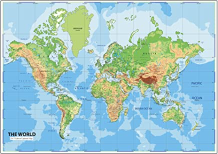 Walls and Murals World Map Wall Posters (70 x 104cm, Vinyl, Multicolour)