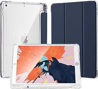 SUNFWR iPad 8 世代 ケース iPad 10.2 第7世代 ケース スリムスタンドシェルオートスリープ/ウェイク 三つ折り iPad 10.2 インチ 2020/2019 半透明 カバーラバーコーティング 耐衝撃 傷防止 ソフトTP...