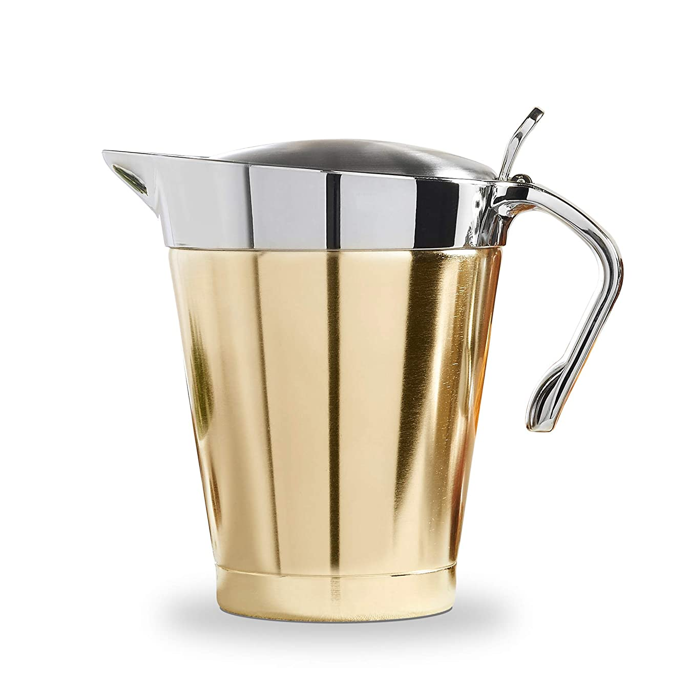 VonShef Brushed Gold Gravy Boat, Double Insulated Jug with Hinged Lid Ideal Thanksgiving Pourer for Gravy or Cream, Stainless Steel, 32oz