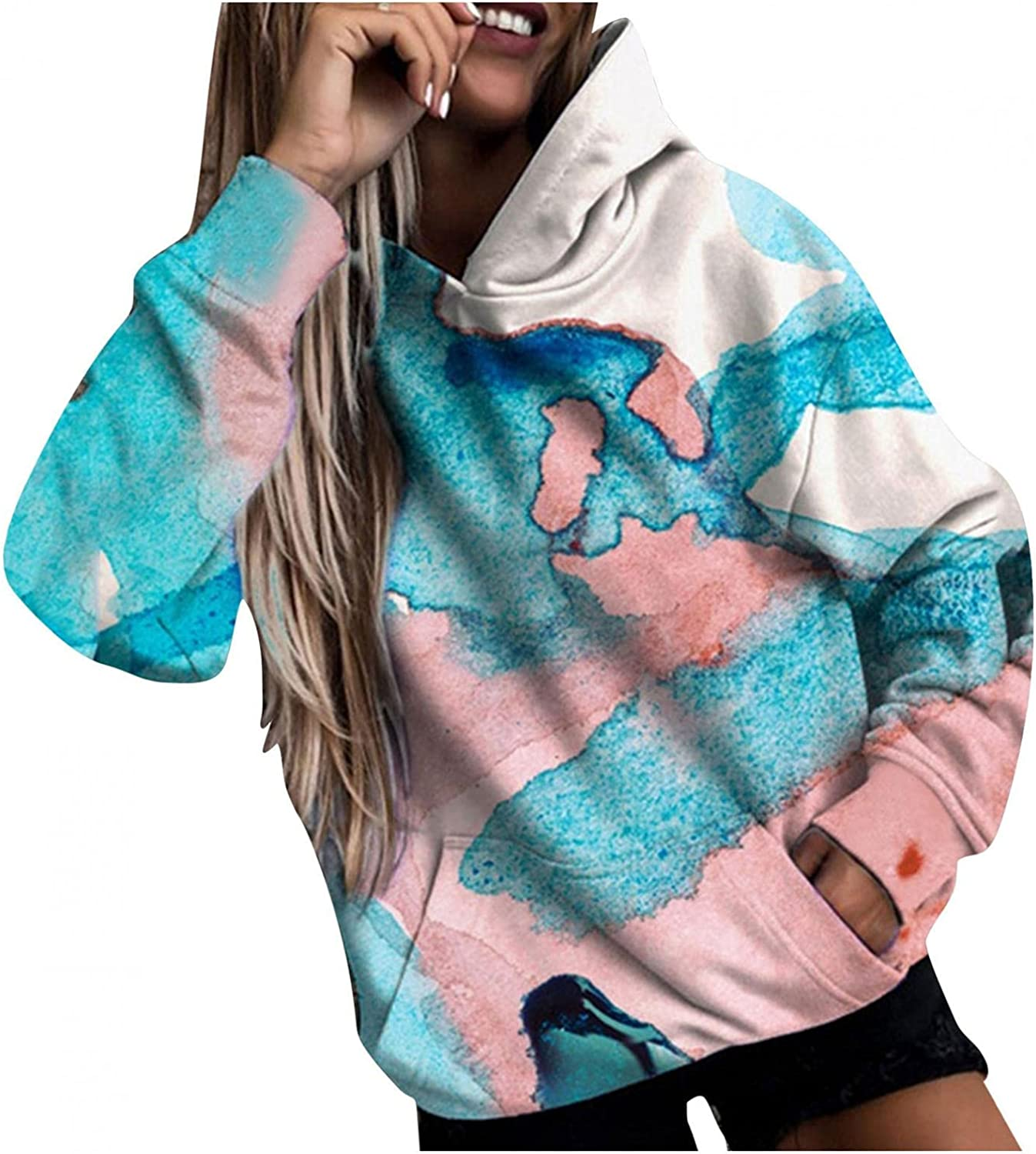 felwors Hoodies for Women, Womens Long Sleeve Hoodie Sweatshirts Casual Tunic Tops Floral Print Shirts with Pockets