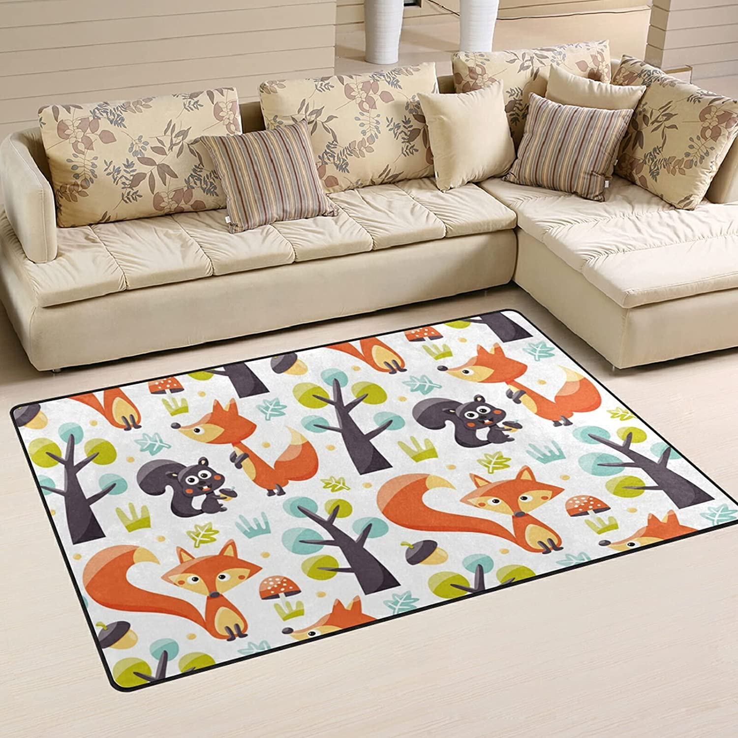 Fresno Mall Foxes Squirrels Trees Large Soft Area Nursery Playmat Rugs M Rug Product