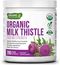 Organic Discounters USDA Organic Milk Thistle Extract Capsules, 280 Count, 7500 mg Strength, Potent 30:1 Extract, USDA Cer...