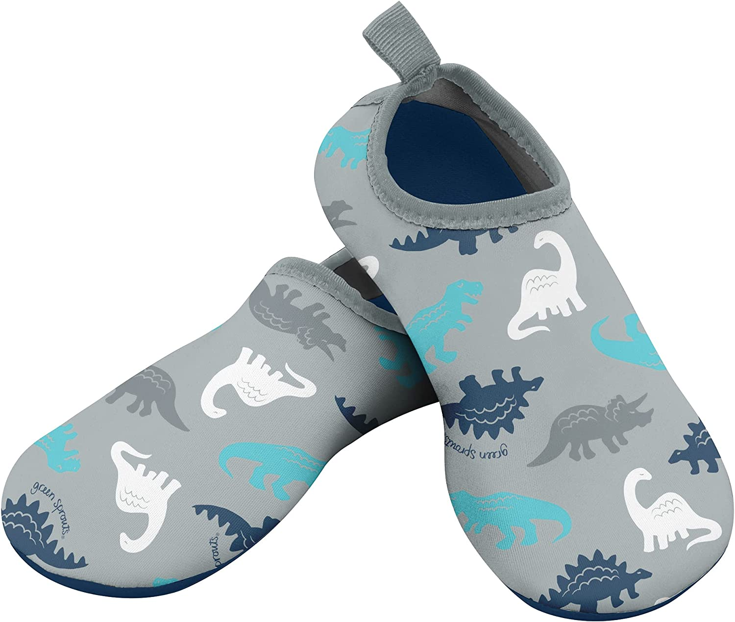 i play. by green sprouts Baby Water Shoe, Gray Simple Dino, 8 M US
