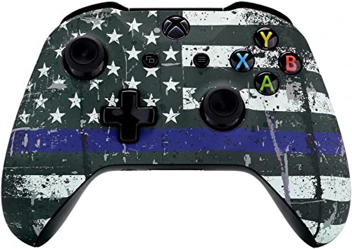 eXtremeRate Custom The Thin Blue Purple Line Flag of USA Patterned Front Housing Shell Faceplate for Xbox One S & Xbo...