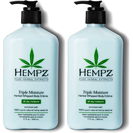 Hempz Natural Triple Moisture Herbal Whipped Body Cream with 100% Pure Hemp Seed Oil for 24-Hour Hydration, Moisturizing Vegan Skin Lotion with Yangu Oil, Peach and Grapefruit, 2 Pack Bundle, 34 Oz