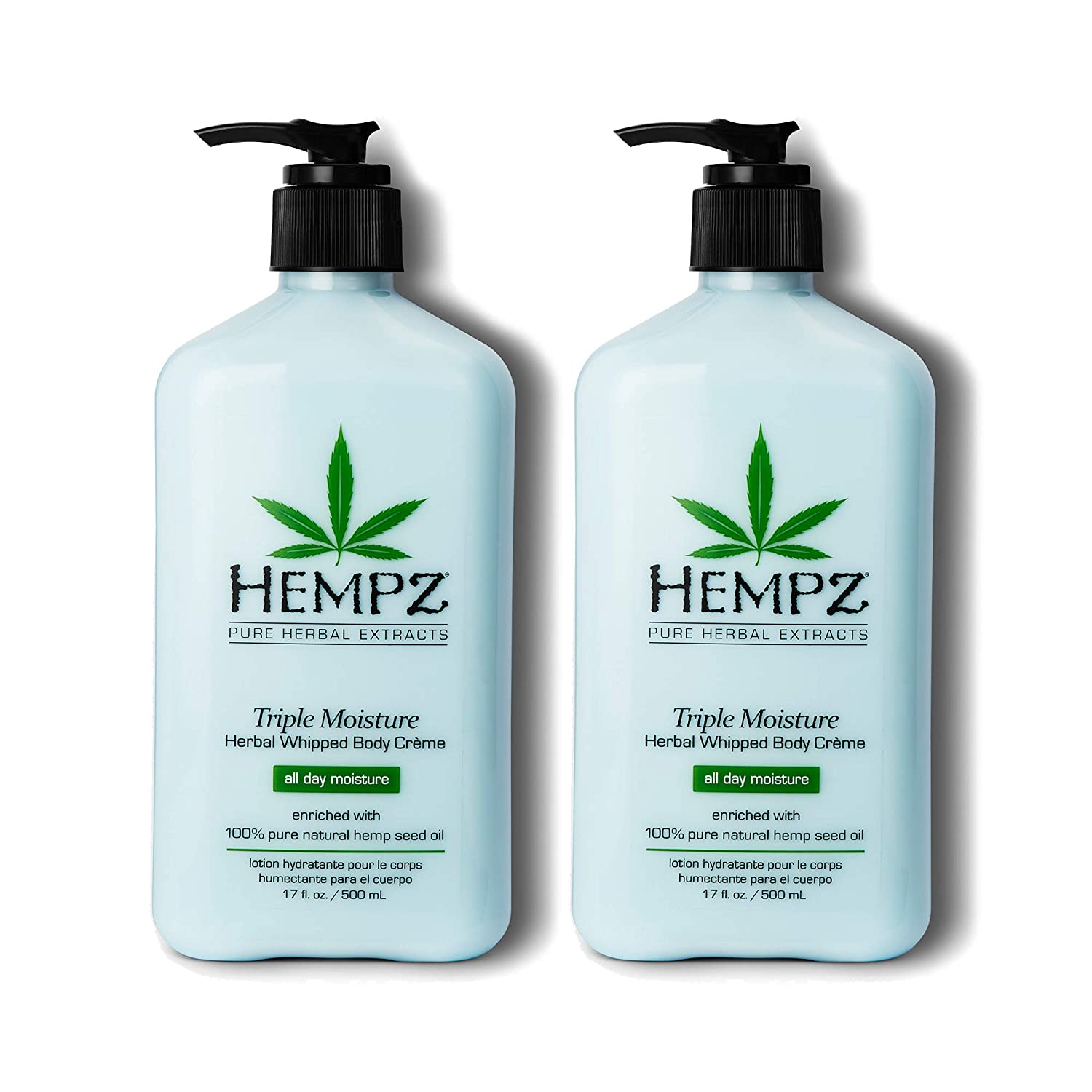Hempz Natural Triple Moisture Herbal Whipped Body Cream with 100% Pure Hemp Seed Oil for 24-Hour Hydration - Moisturizing Vegan Skin Lotion with Yangu Oil, Peach and Grapefruit, 17oz, 2 Pack Bundle: Beauty