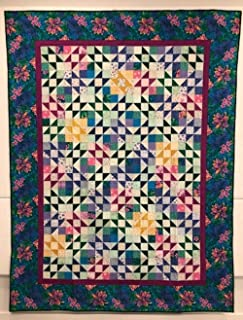 """Quilt for Bedroom Bedspread Throw Wall hanging Lap quilt table top decoration multicolor patchwork hand stitched art mural colorful textile Hawaiian Stars 57.5"""" x 77"""""""