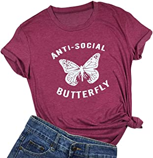 Anti-Social Butterfly Funny T-Shirt Womens Letter Printed Short Sleeve Tops Tee