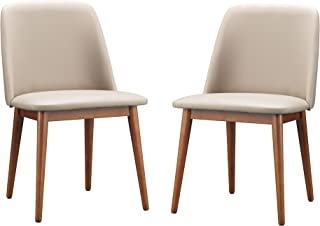Baxton Studio Lavin Mid-Century Dark Walnut Wood and Beige Faux Leather Dining Chairs (Set of 2)