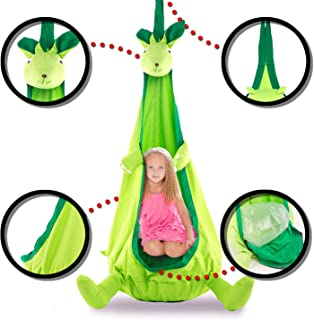 Papa Roo Dinosaur Child Hammock Pod Swing Chair Nook Animal Tent, 100% Cotton - Kids Outdoor Swing Cloth Hanging Seat - Hammock Nest Outdoor and Indoor Swing Chair (Kangaroo, Green)