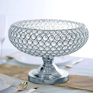 "Efavormart 9"" Silver Acrylic 300 Crystal Beaded Bowl Pedestal Vase Wedding Decorative Centerpiece"