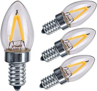 Sagel E12 C7 LED Candle Bulbs, 2W LED Candelabra Light Bulbs 15 Watt Equivalent, 200lm, Warm White 2700K LED Filament Bulbs, E12 Candelabra Base Lamp C7 Mini Torpedo Shape, Non-Dimmable, Pack of 4