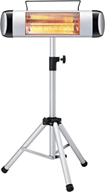 u-cristallo Far Infrared Patio Heater with Tripod, Freestanding Wall-Mounted Space Heater, Outdoor/Indoor Electric Heater with Remote Control, Waterproof, 500/1000/1500W (Mounted with Tripod)