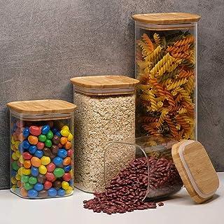 Annfly Lot de 4 bocaux en verre transparent empilables et hermétiques pour la cuisine, les bonbons, les biscuits, le riz, ...