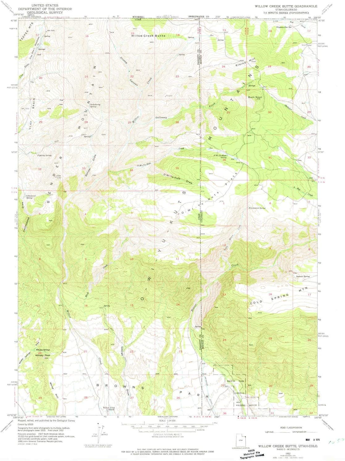 Willow New color Creek Butte UT topo map 1:24000 Minute 7.5 35% OFF X Scale