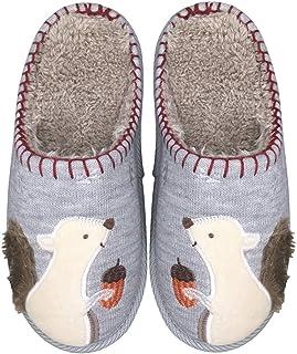 Cute Squirrel Animal Slippers for Women Mens Winter Warm Memory Foam Cotton Home Slippers Soft Plush Fleece Slip on House ...