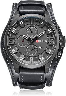 CURREN Men Teen Casual Leather Strap Sports Date Analog Quartz Wristwatch