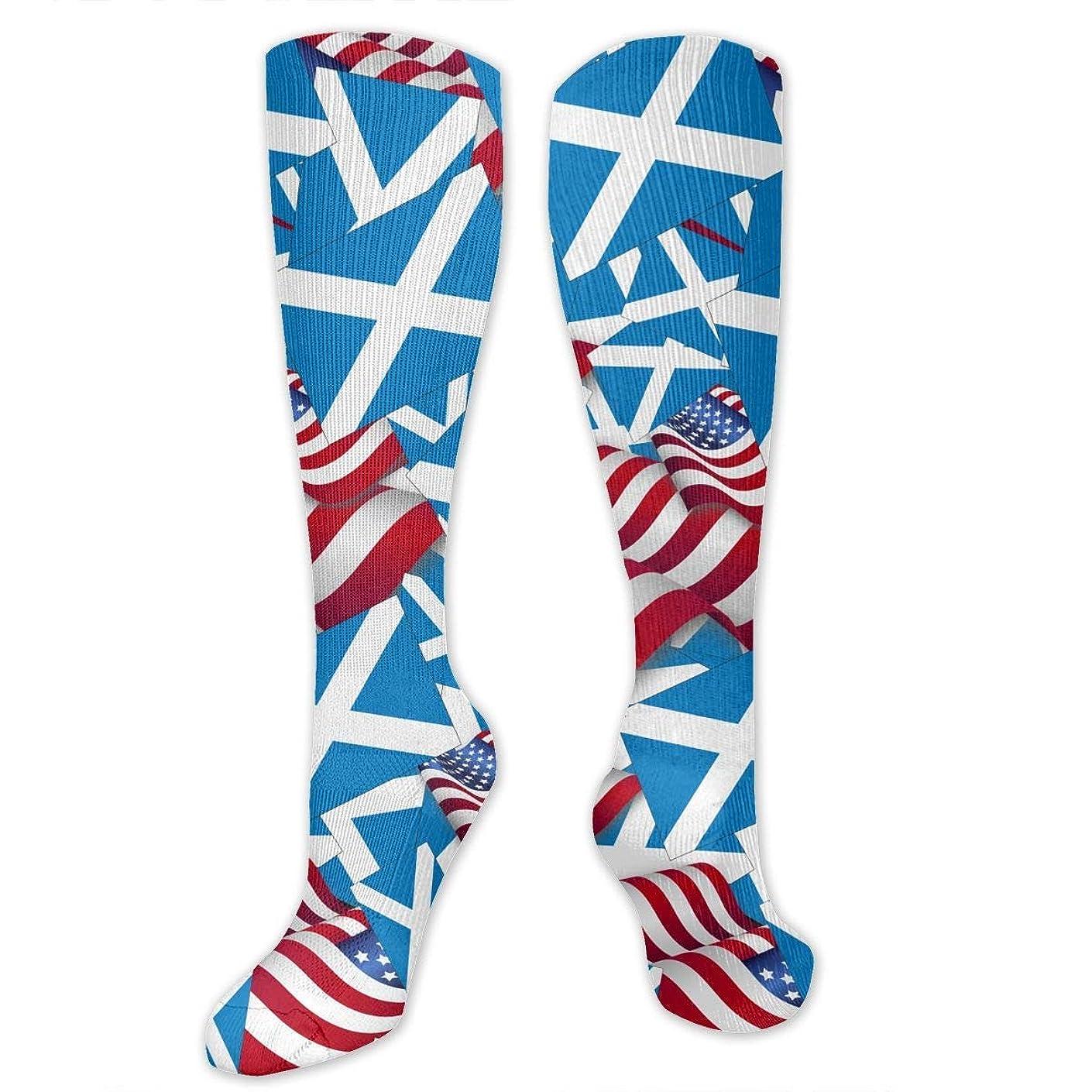 両方不機嫌仲良しQRRIYスコットランドアメリカ フラッグ- 3 D抗菌アスレチックソックス圧縮靴下クルーソックス