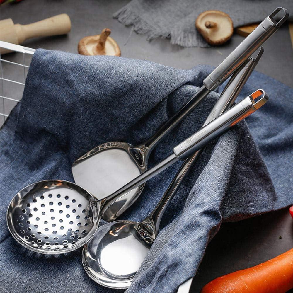 Ykun Edelstahlspatel, Kocheisenschaufel, Haushaltssuppenlöffel, Küchen-Langgriff-Schaufel-Sieb Three-piece Set