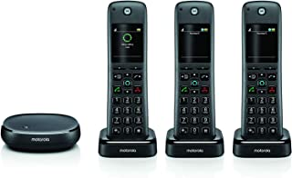 Motorola AXH03 Smart Wireless Home Phone System with Alexa Built-in and Speaker Phone – 3 Cordless Phone Handsets Included