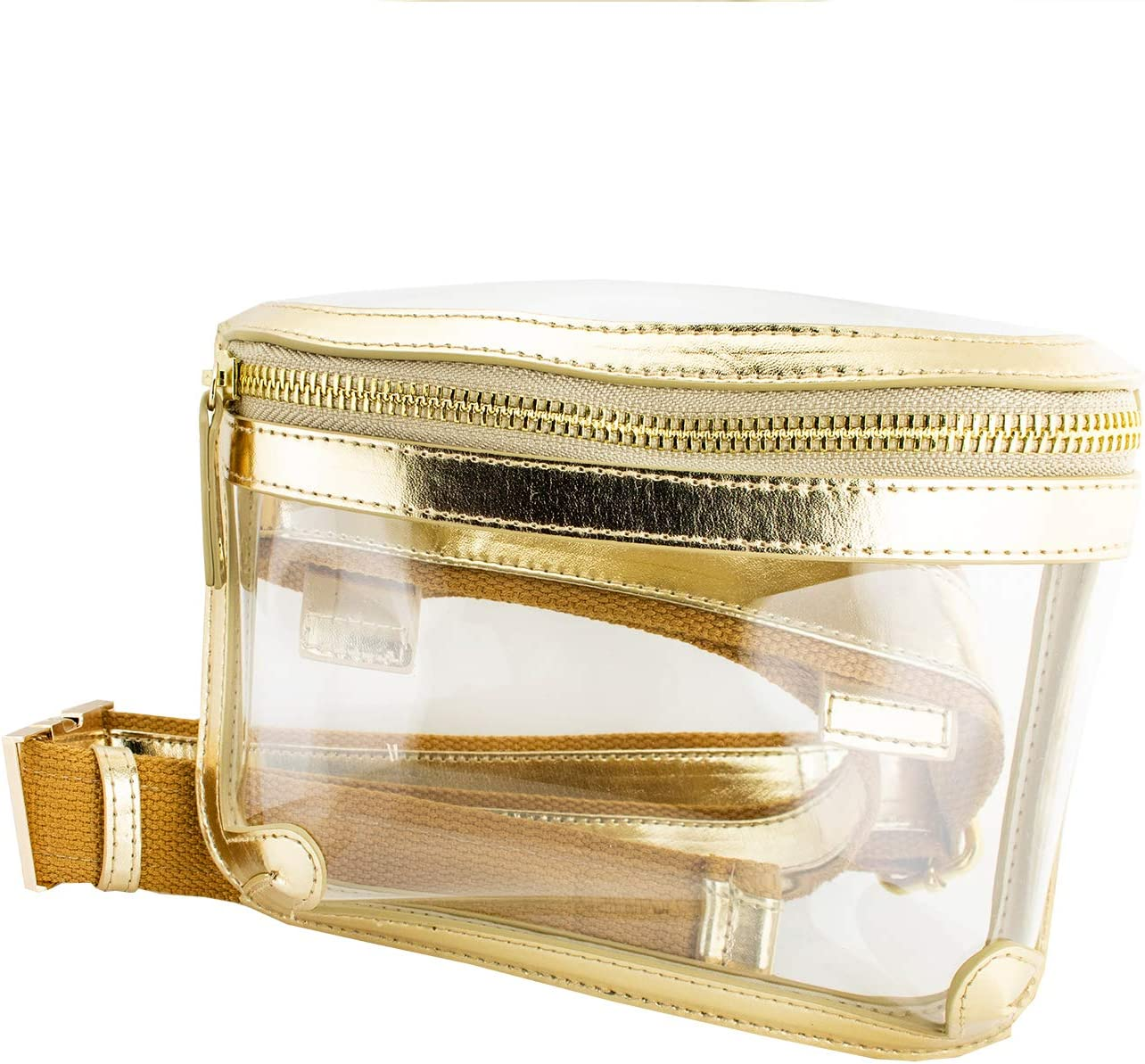 Belt Jacksonville Mall Bag - Clear Gold with Max 41% OFF Accents PVC