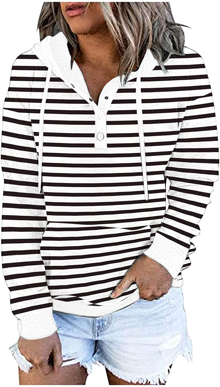 Hemlock Ranking TOP8 55% OFF Women Stripes Print Hooded Sweatshirts Buttons Pullovers