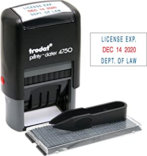 Trodat Printy Economy Self-Inking Do It Yourself Message Date Stamp, Stamp Impression Size: 1 x 1-5/8 Inches, Blue/Red (5916)