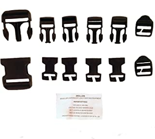 NEW 12 Pieces Buckles MOLLE ll 2 Black Replacement Repair Quick Release BUCKLE Kit Back Pack Belt Webbing ITW Set by US Goverment GI USGI