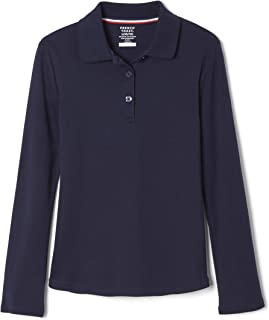 Girls' Long Sleeve Interlock Polo with Picot Collar