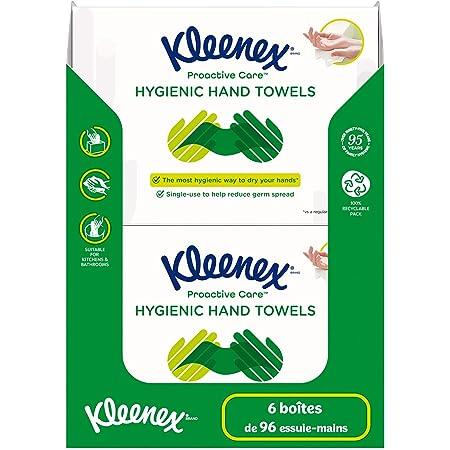 Kleenex PROACTIVE CARE – Essuie-mains – Lot de 6 boîtes d'essuie-mains à usage unique