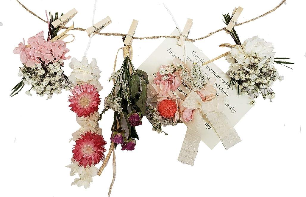 スコアカカドゥ抵当ドライフラワー ローズ&デージーフラワーガーランド 壁掛け 壁飾り 春色 ホワイトピンク 模様替え ディスプレー ナチュラルガーランド 雑貨