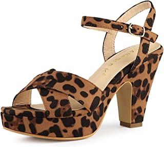 Allegra K Women's Platform Chunky Heel Slingback Sandals