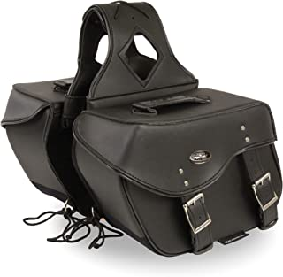 Shaf International SH55303ZB Black Two Buckle Throw-Over Saddle Bag