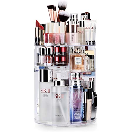 Auxmir Maquillage Organisateur, 360° Rotatif Présentoir Cosmétique et Support Cosmétique Étagères Comptoir Organisateur Cosmétique De Stockage, 7 Couches de Rangement