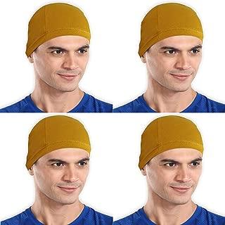 The Blazze Cotton Helmet Cap (Free Size, Mustard Yellow+Mustard Yellow+Mustard Yellow+Mustard Yellow)