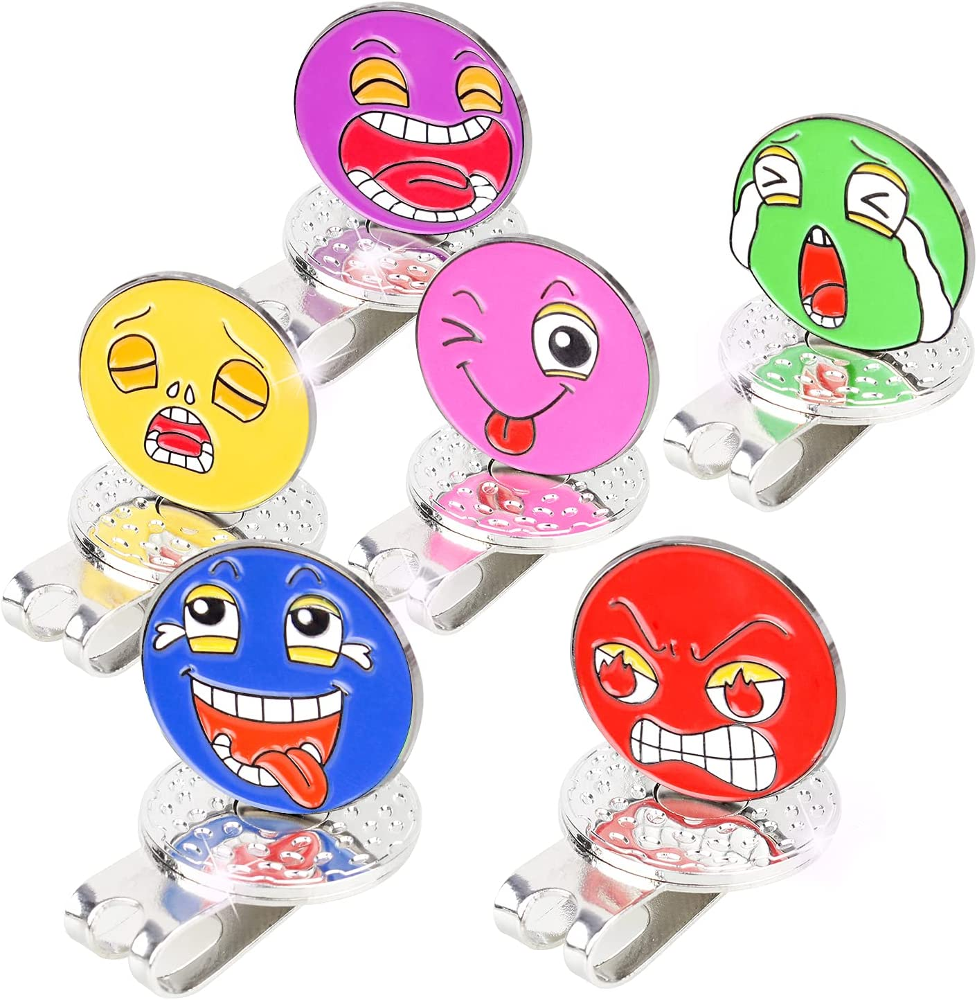 MYKUJA Golf Ball Markers Hat Clip with Funny Expressions Add More Interest for Golfers, Premium Gift Pack of 6 : Everything Else