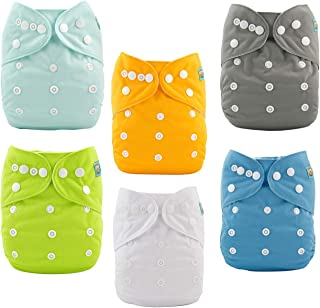 ALVABABY Baby Cloth Diapers Adjustable Washable and Reusable Pocket Diapers for Baby Girls 6 Pack With 12 Inserts 6BM98-CA