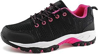 حذاء JABASIC نسائي للمشي لمسافات طويلة مصنوع من نسيج شبكي مسامي رياضي في الهواء الطلق (أسود) فوشيا، 9)