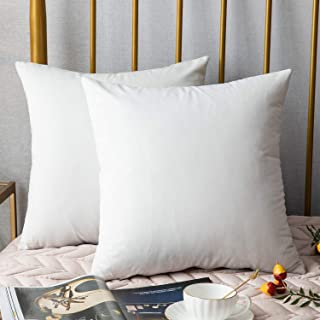 DEZENE Throw Pillow Covers, 2 Pack Super Soft Velvet Decorative Pillow Cases, Luxury Accent Rectangular Pillowcases, Square Cushion Covers for Farmhouse,Couch,Sofa, 18 x 18 Inch, White