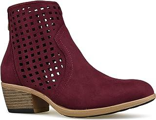 Premier Standard - Women's Back Zipper Closed Toe Bootie - Low Heel Casual Comfortable Walking Boot