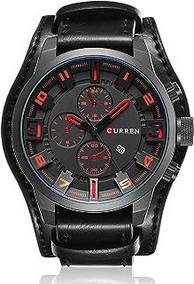 ساعة كوارتز رياضية للرجال من GoolRC بتقويم عصري ساعة يد بحزام جلدي