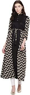Lady Stark Printed Three - Fourth Sleeves Ankle - Length Black Color Kurta for Ladies